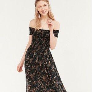 Urban Outfitters floral off shoulder slit dress